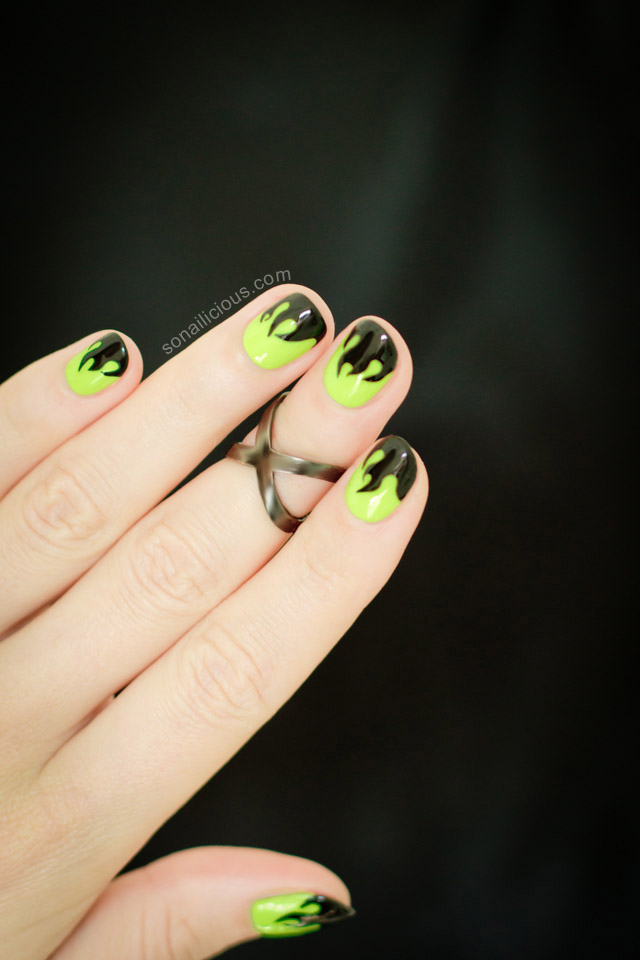green flame halloween nails - SoNailicious