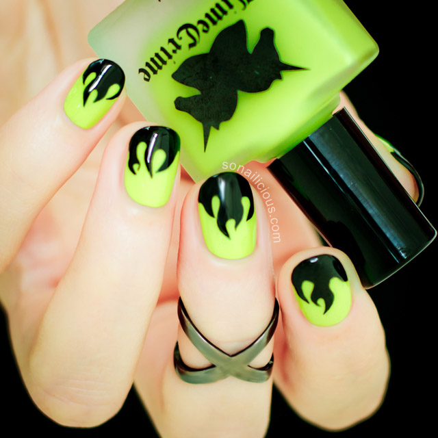 green halloween nails tutorial