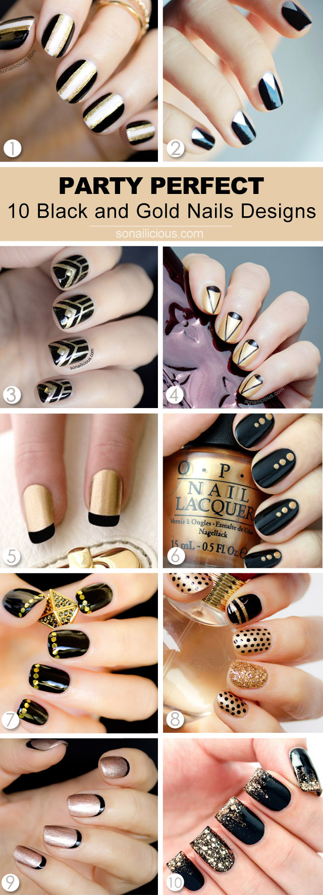 10 BEST BLACK AND GOLD NAIL DESIGNS