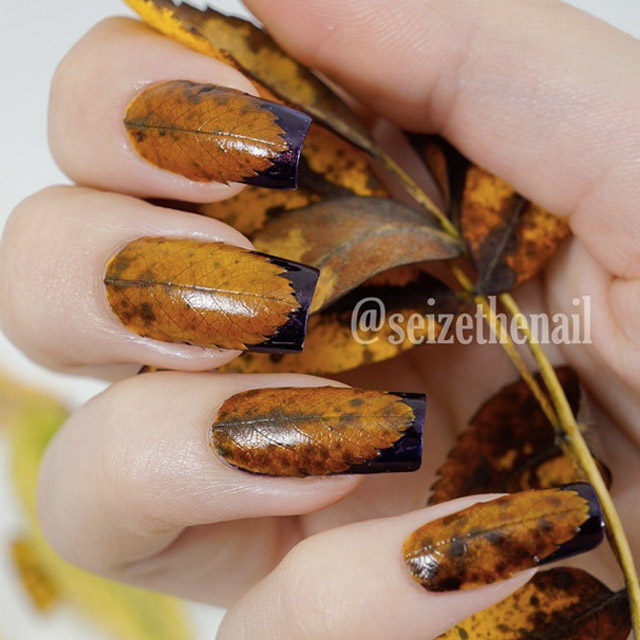 Fall nails with real leafs by Seize The Nail