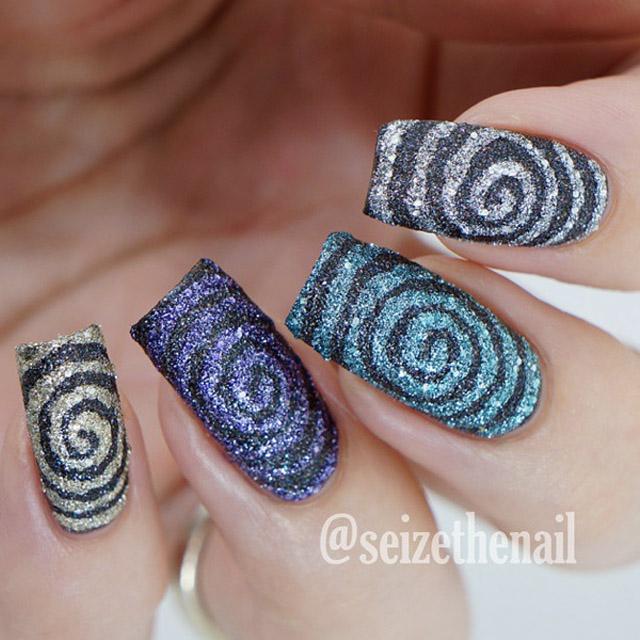 Textured Swirls nail art