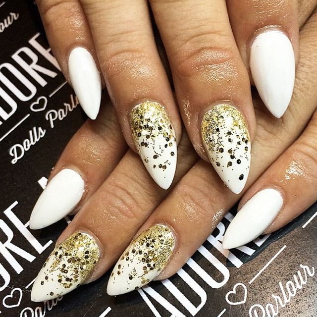 White and Gold mani by Nicole, Adore Girls Parlour