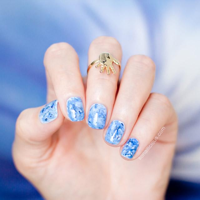 foil drag marble nails