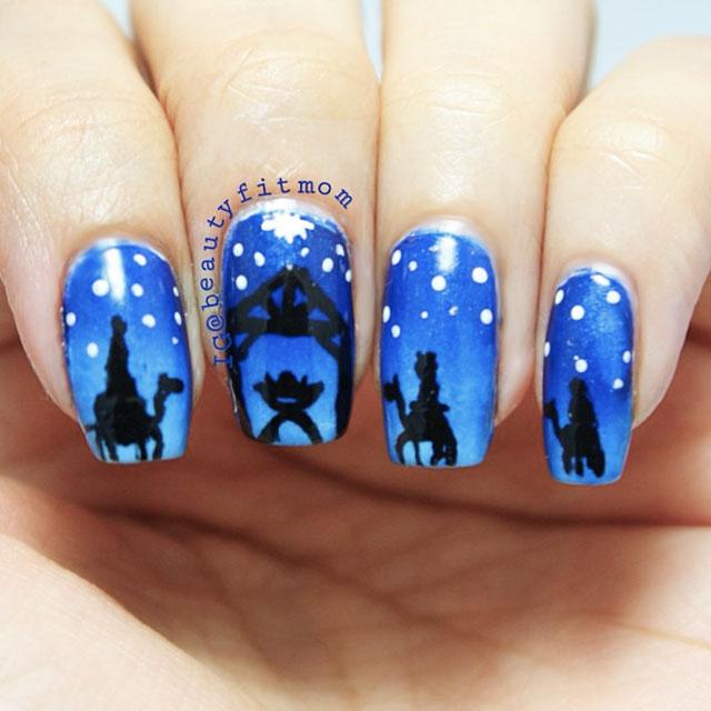 Silent Night Christmas nail art by @BeautyFit Mum