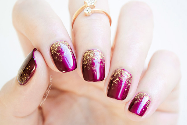 glitter gradient manicure tips