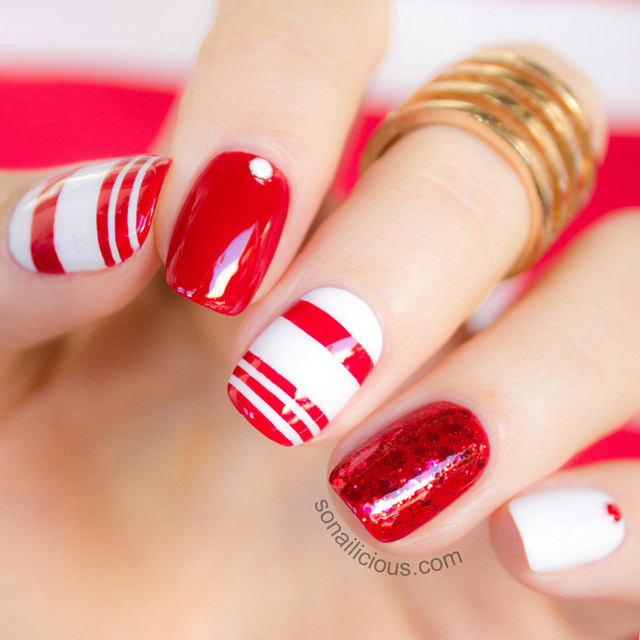 red and white nail art tutorial
