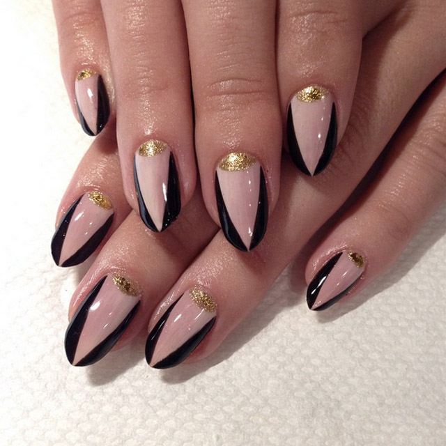 Gold Half moon nails by Mia @superflynails