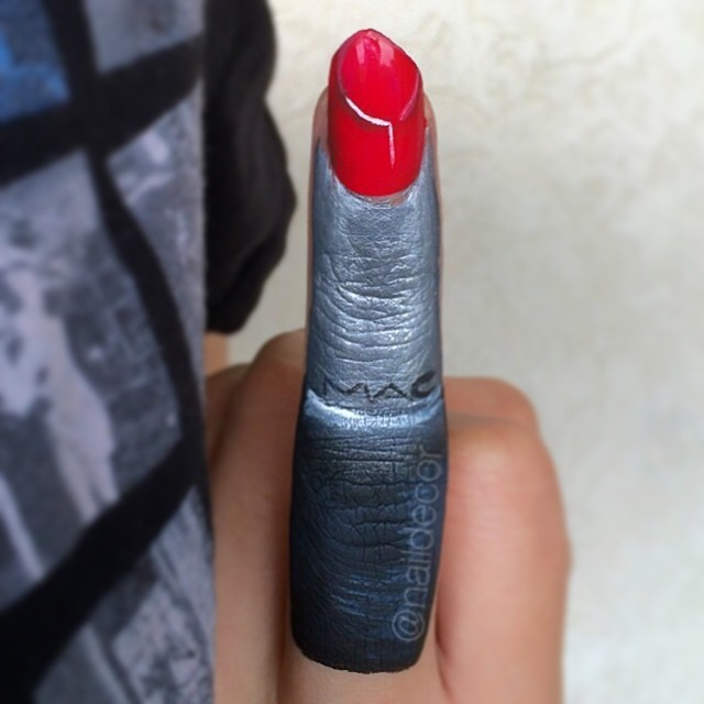 MAC Lipstick Nails @NailDecor