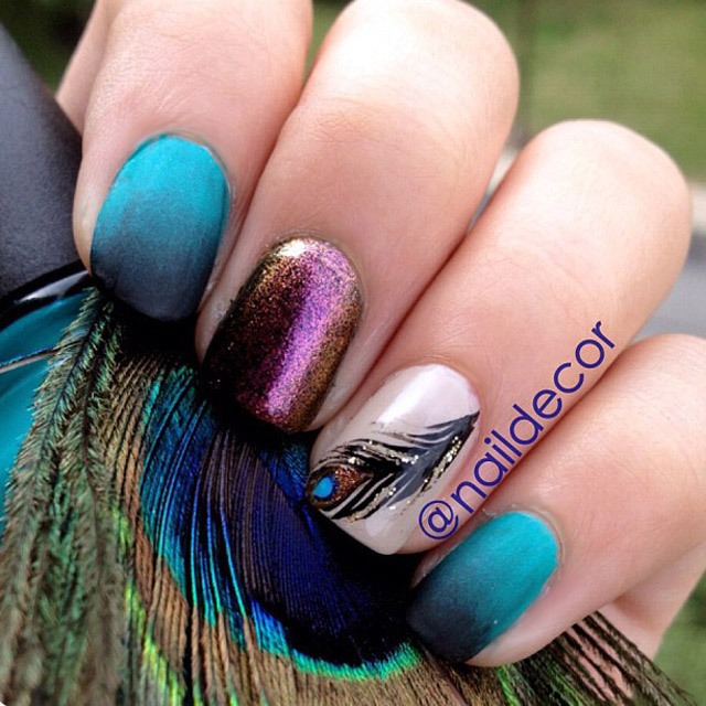 Peacock Nails by @NailDecor