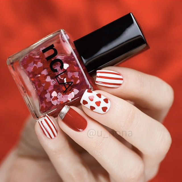 Red and White Valentine's Day nails by @u_nona