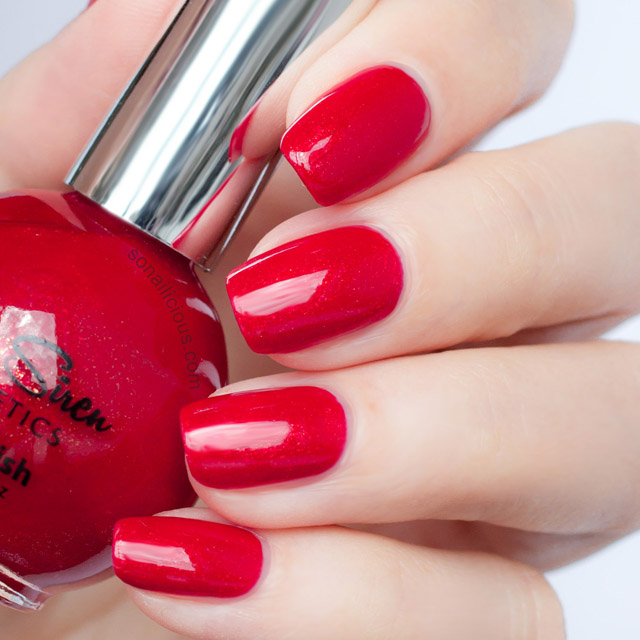 SeaSiren Temptress red shimmer polish swatch