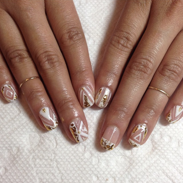 White and Gold negative space nails by Mia Rubie