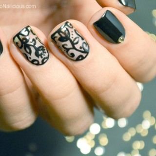 black lace nail art tutorial