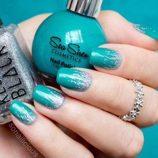 green and silver nail art with sea siren jealousea kester black sugar daddy