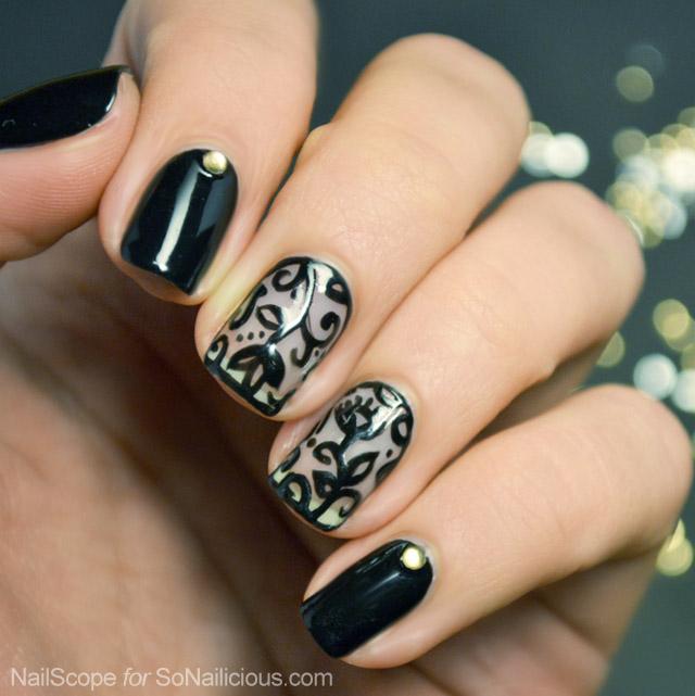 black lace nail art