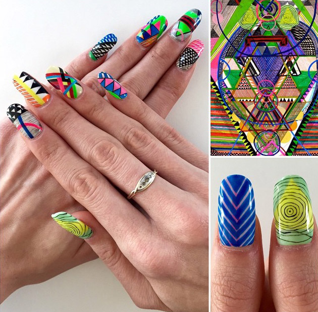 Detailed geometric nails by Mei