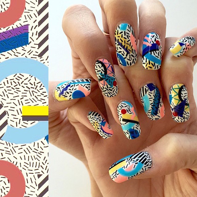 Geometric print nails by Mei