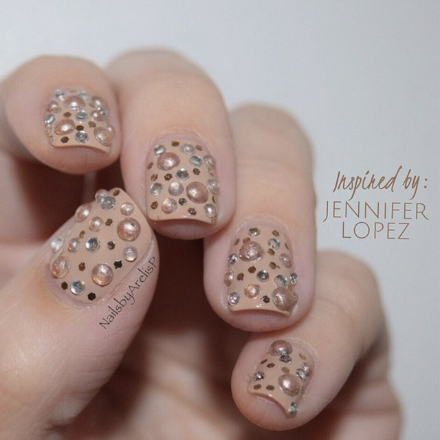 Jennifer Lopez dress inspired nail art by @NailsByArelisP