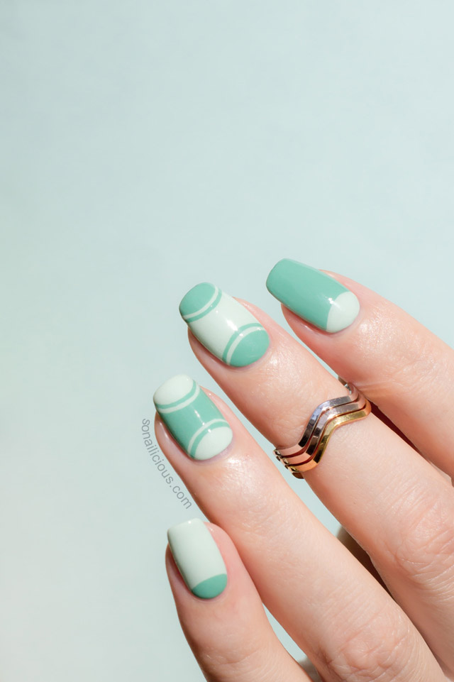 Mint half moon manicure tutorial 1