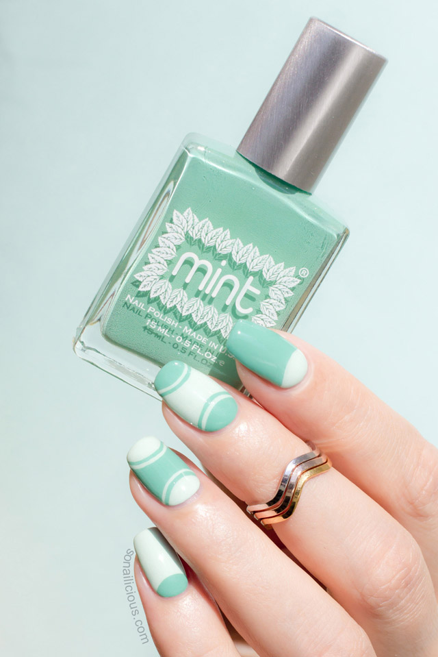 Mint half moon manicure tutorial