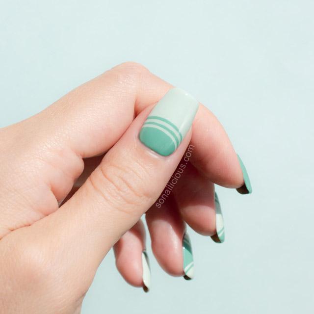 Mint half moon manicure