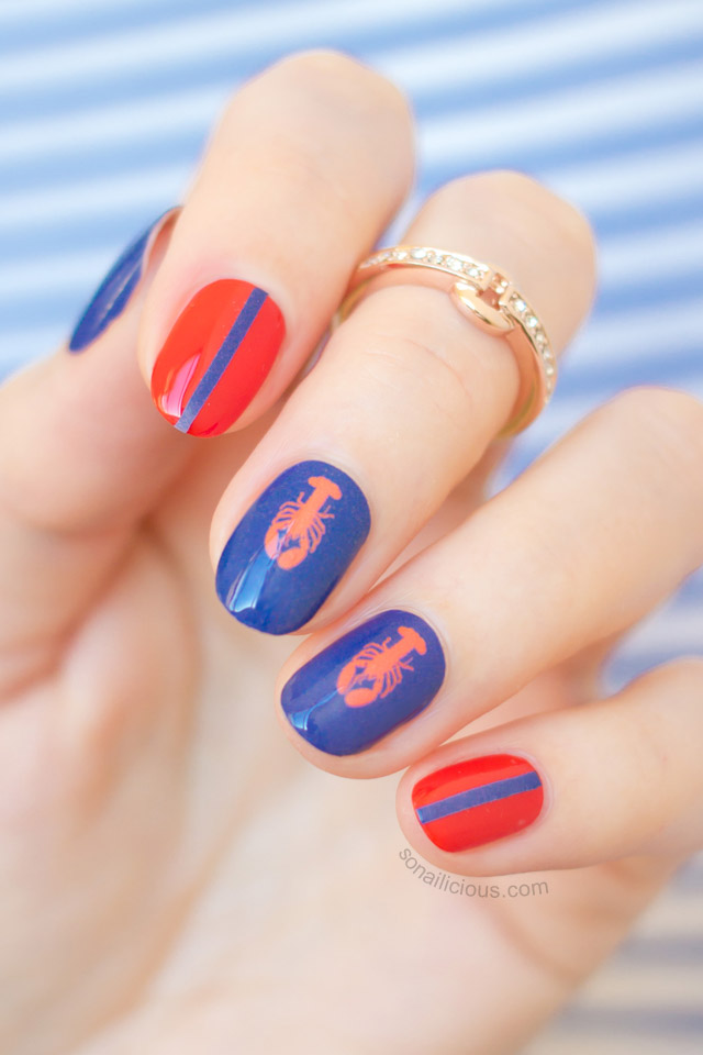 Nautical spring nail art