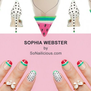 Sophia Webster Watermelon Nails by @SoNailicious