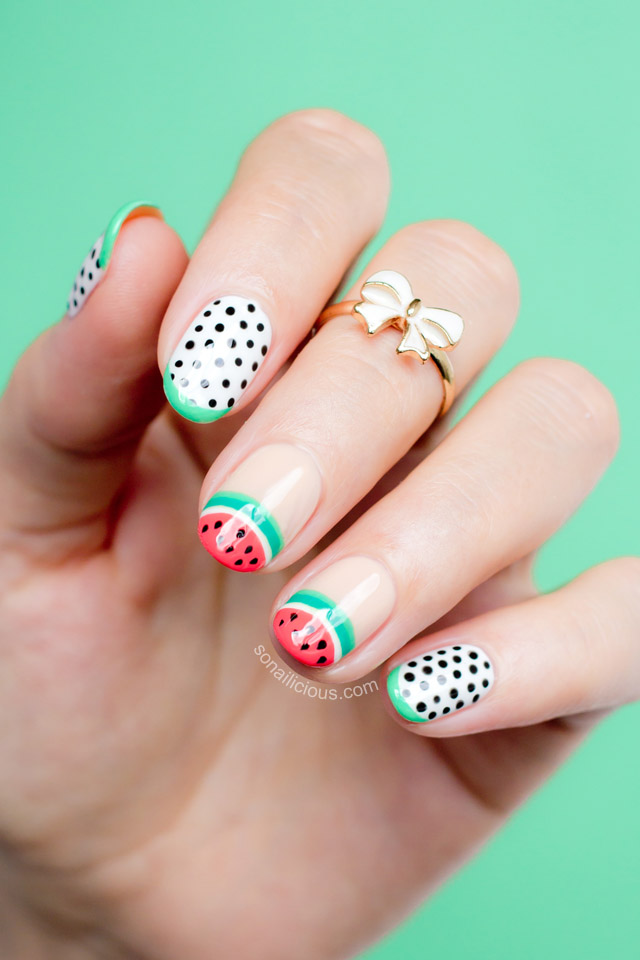 Watermelon Nail Art by @SoNailicious