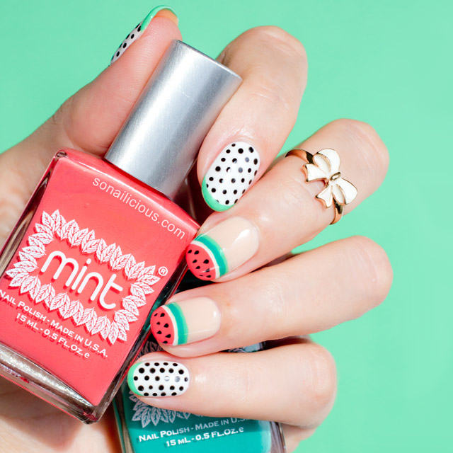 Watermelon Nails by @SoNailicious NAFW 2015