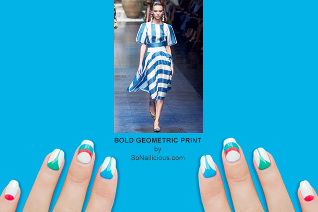 bold geometric print nails by @so_nailicious