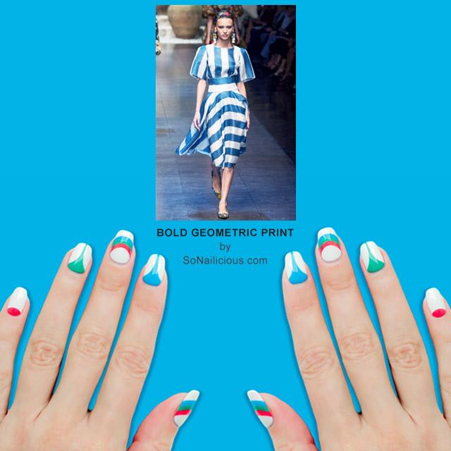 bold geometric print nails by @so_nailicious