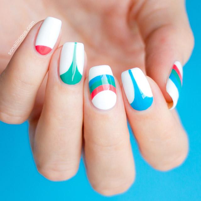 bold geometric print nails