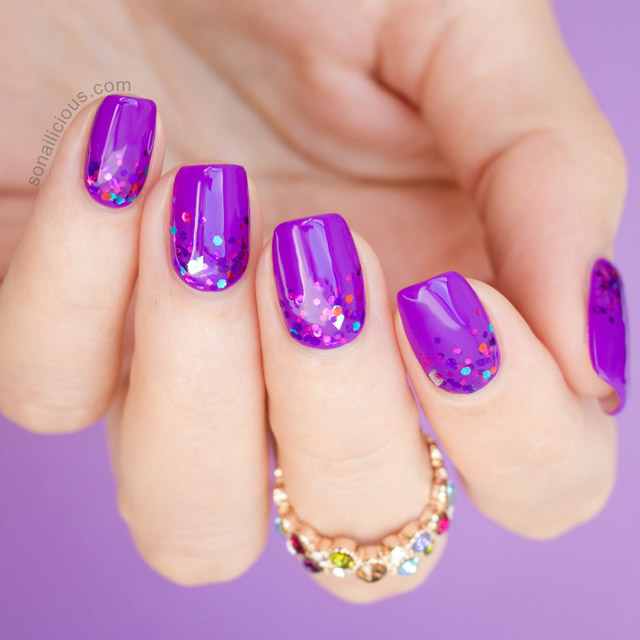 glitter gradient purple nails by @sonailicious