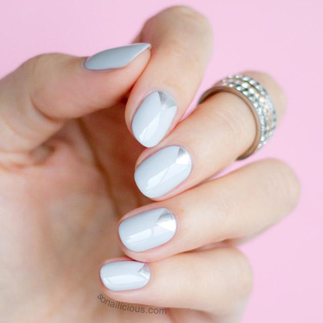 grey and silver nail art