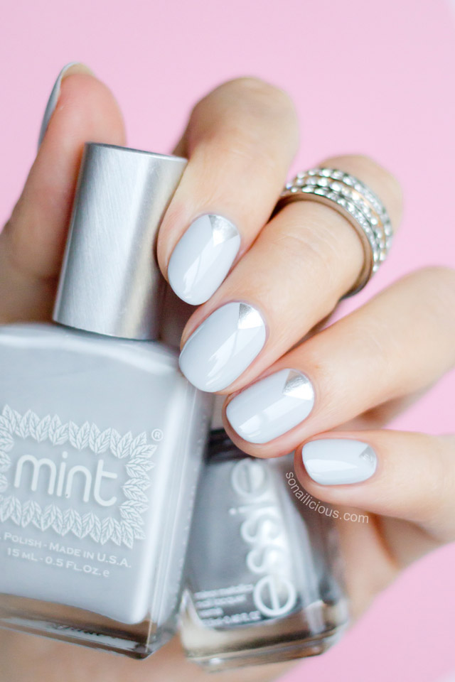 grey nails with mint polish fancy