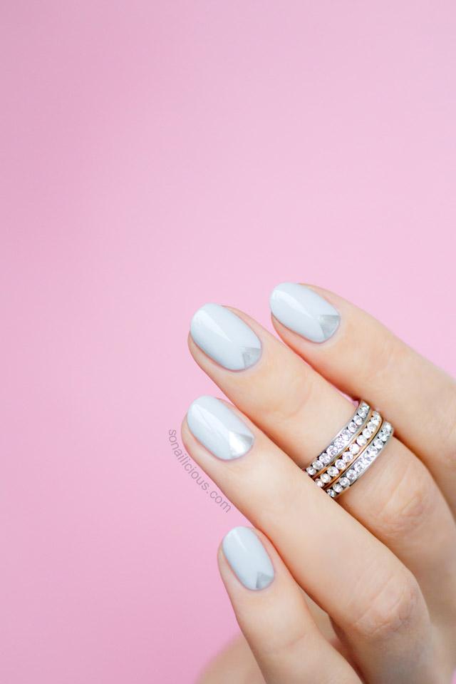 silver grey nail art