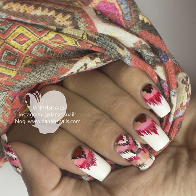 Ikat nails by @DanahSnails