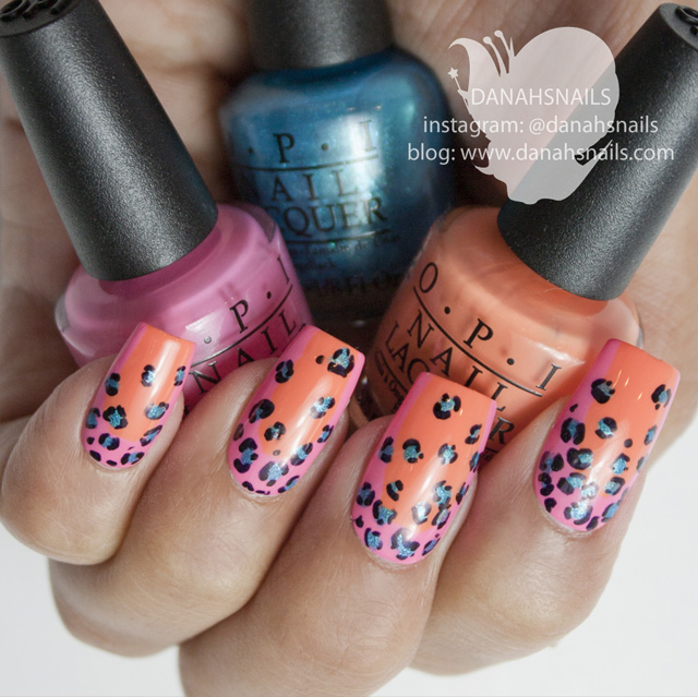 Leopard print nails with OPI Brazil by Danah Alfares