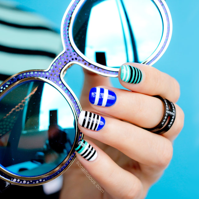 stripes nails matching mirrored sunglasses