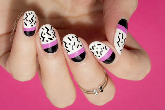pop art nails black and white nails