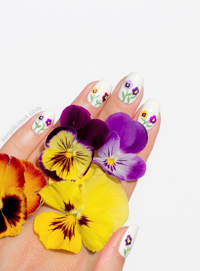 pansy nail art