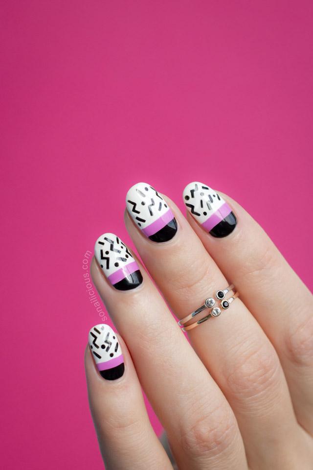 pop art nails black and white nails
