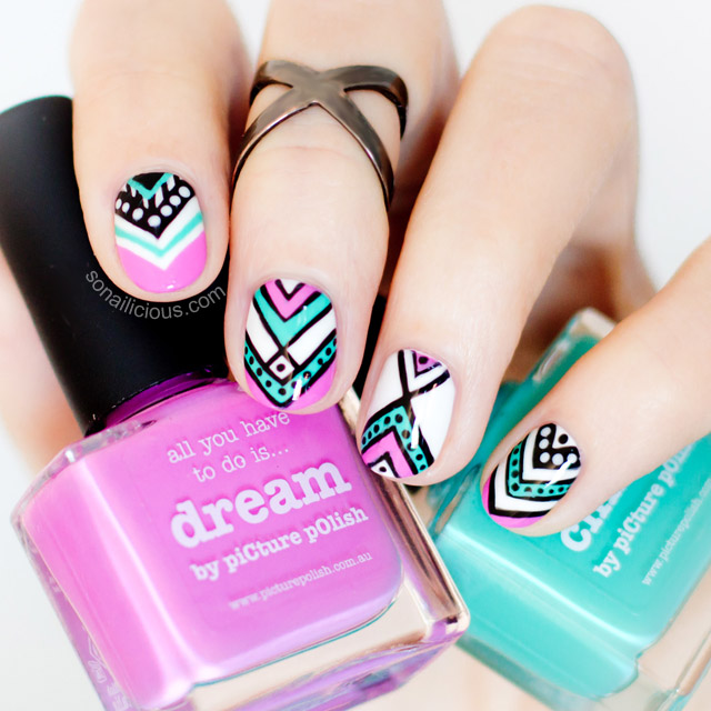 Aztec Nail design with Picture polish