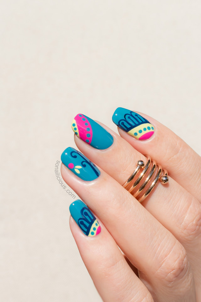 Teal nails Mediterranean print