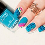 Mediterranean Print Teal Nails