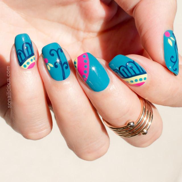 Teal nails