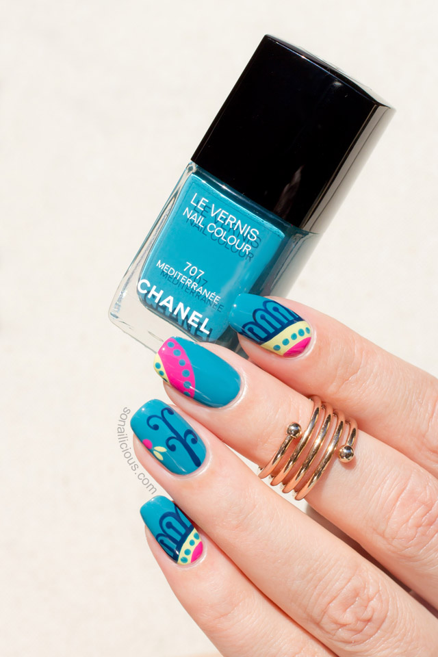 teal nails with chanel mediterranee