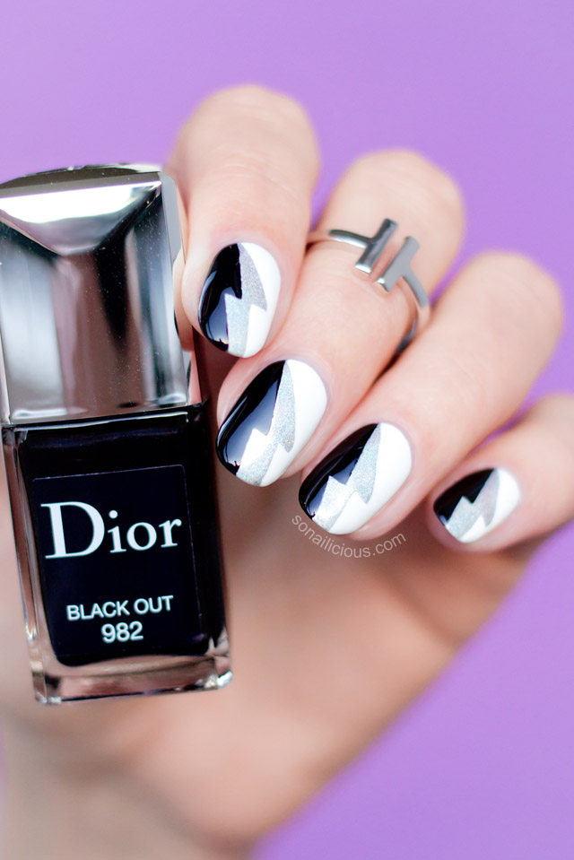 cool black and white nail art Dior Black Out