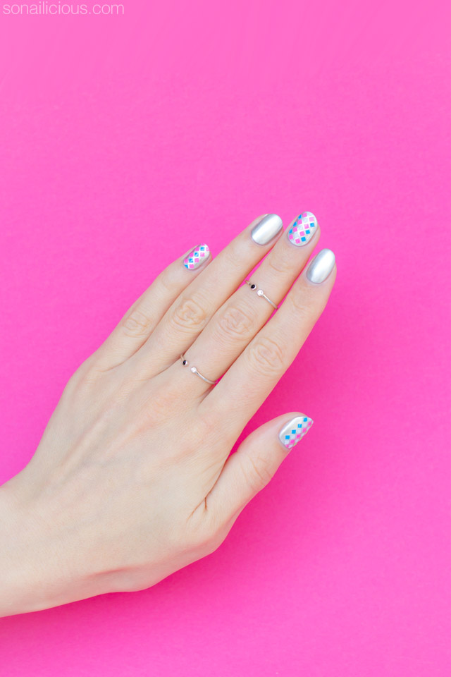 silver nail art for short nails
