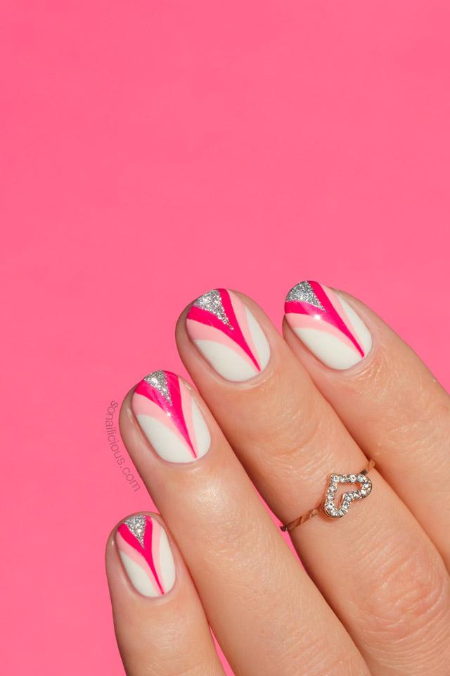breast cancer nail art, pink nails